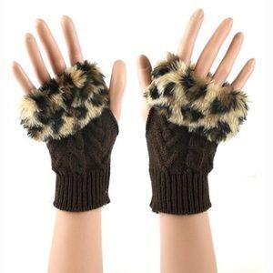 Leopard Faux Fur Trim Arm Warmer Fingerless Gloves